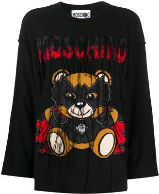 Moschino Bat Teddybear fringed sweatshirt