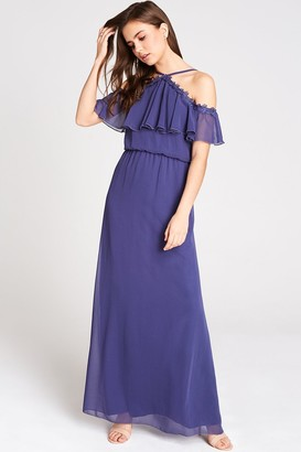 Girls On Film Marnie Blue Cold Shoulder Maxi Dress