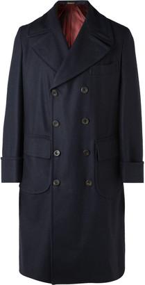 Rubinacci - Double-breasted Herringbone Wool Overcoat - Blue