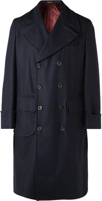 Rubinacci Double-Breasted Herringbone Wool Overcoat