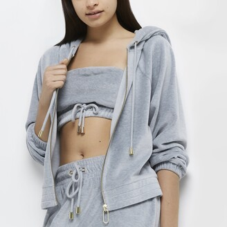 River Island Womens Grey velour lounge long sleeve hoodie