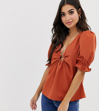 Asos DESIGN Petite tea blouse with ring detail