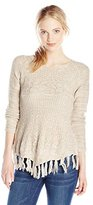 It's Our Time Junior's Marled Pullover Sweater with Fringe