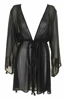Jessica Simpson Women's Plus Size Tie-Front Swim Cover-Up Solid Black 1X