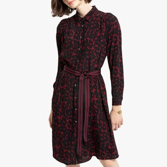 Leopard Print Shirt Dress in Mid-Length with Long Sleeves and Tie-Waist