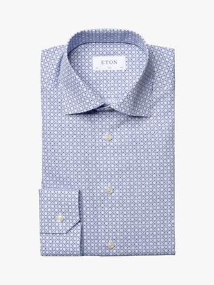 Eton Mosaic Print Slim Fit Shirt, Blue