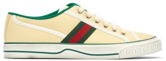 Gucci Tennis 1977 Cotton-canvas Trainers - Mens - Yellow Multi