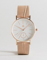 Asos Large Clean Dial Watch With Faux Crocodile Strap