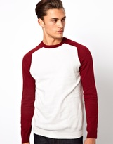 Asos Crew Neck Sweater with Contrast Sleeves