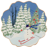 Anthropologie Emily Isabella Christmas Snowman Side Plate, Multi, Dia.21cm