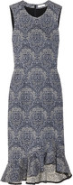 Erdem Louisa Floral-jacquard Midi Dress - Gray