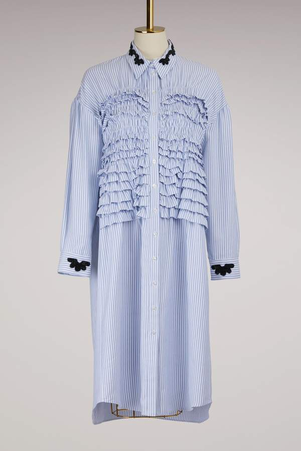 Simone Rocha Smocked Shirt Dress