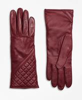 Brooks Brothers Cashmere Lined Quilted Leather Gloves