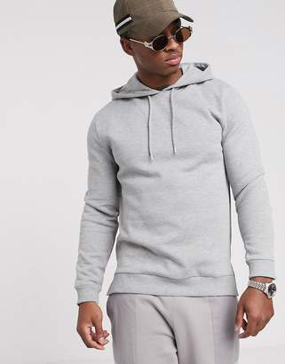 Asos Design DESIGN hoodie with split and dropped hem in gray marl