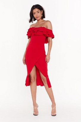 Nasty Gal Womens In the Evening Ruffle Dress - Red