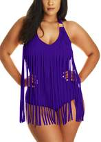 Pandolah Plus Size Tassel Padded Monokini Bandeau Fringe One Piece Swimsuits
