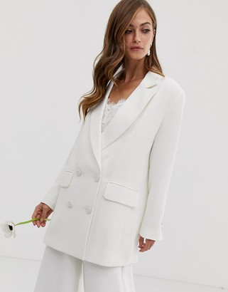 Asos Edition EDITION double breasted wedding jacket-White