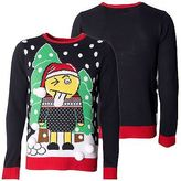 Loyalty And Faith Mens Christmas Sweater Novelty Knitted Navy Xmas Jumpers Sizes S -XXL