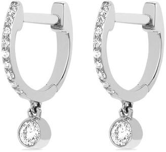 Ef Collection 14kt White Gold Diamond Bezel Drop Huggies