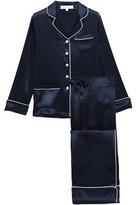 Olivia von Halle Coco Appliqued Silk-charmeuse Pajama Set