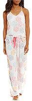 Josie Floral Tile-Print Racerback Challis Pajamas