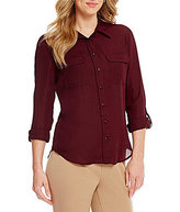 Investments Petite Long Sleeve Utility Blouse