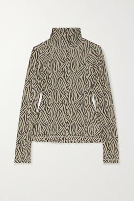 Nanushka Madi Zebra-print Jersey Turtleneck Top - Zebra print