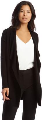 Basque Drape-Front Cardigan In Black