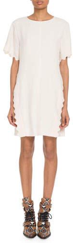 Chloé Scalloped-Trim Short-Sleeve Crewneck Crepe Shift Dress
