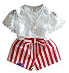 3PCS Clothes Set,Fheaven Baby Girls Lace T-shirt+Stripe Shorts Pants + Beads Necklace (3/4T, red)