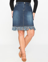 ELOQUII Plus Size Fringe A-Line Denim Skirt