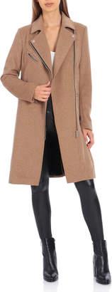 AVEC LES FILLES Twill Wool Moto Coat