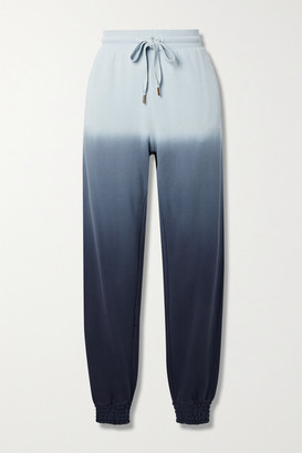 The Upside Alena Embroidered Ombre Cotton-jersey Track Pants - Navy