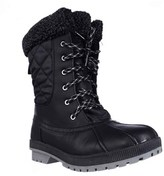 London Fog Swanley Shearling Lined Cold Weather Snow Boots, Black Quilting.