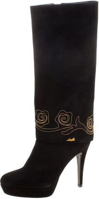 Loriblu Black Suede Cuff Embroidered Calf Length Boots Size 37.5