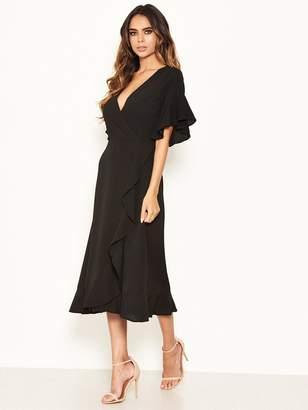 AX Paris Short Sleeved Frill Hem Dress - Black