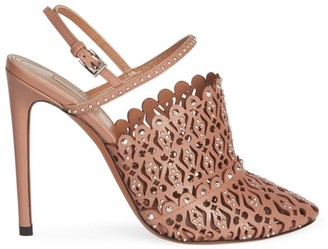Alaia Laser Cut Leather Slingback Pumps