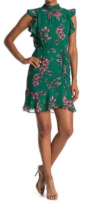 Sam Edelman Floral Mock Neck Ruffled Dress