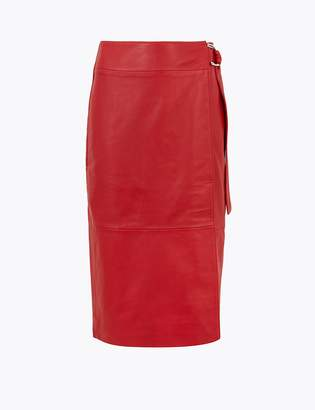 AutographMarks and Spencer Leather Wrap Midi Skirt