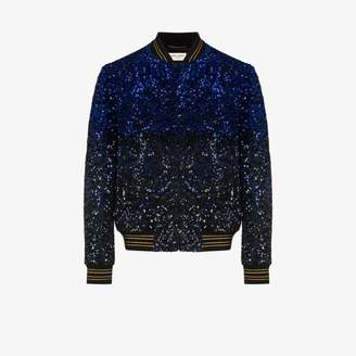Saint Laurent Teddy sequin wool bomber jacket