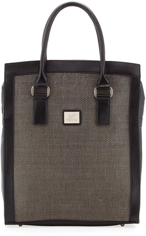 Gianfranco Ferre GF Woven-Center Shopper Tote Bag, Olive