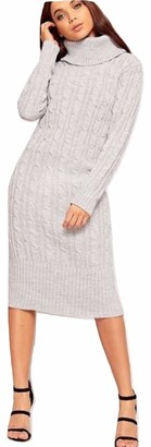 Top Fashion18 Ladies Cowl Polo High Neck Cable Knitted Maxi Midi Dress Jumper Size 8-14 Silver