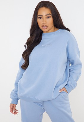 Missguided Plus Size Blue Oversized Sweatshirt