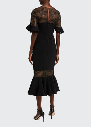 Marchesa Sweetheart Illusion Ruffle-Sleeve Lace-Yoke Midi Dress