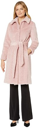 Vince Camuto Belted Faux Fur Jacket V29711A (Pink) Women's Clothing