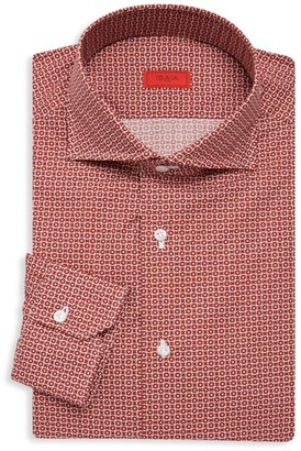 Isaia Slim Fit Circle Print Dress Shirt