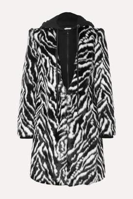 Alice + Olivia Alice Olivia - Kylie Hooded Zebra-print Faux Fur Coat - Black