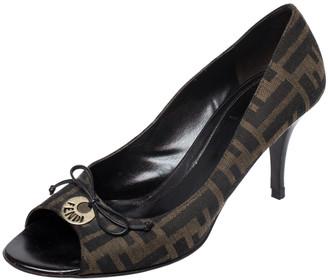 Fendi Brown Zucca Canvas Bow Peep Toe Pumps Size 38