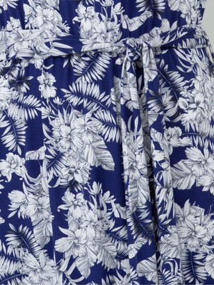 Very Scoop Neck Tie Waist Maxi Dress - Navy Print