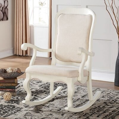 Thumbnail for your product : One Allium Way Antique White Sharan Rocking Chair